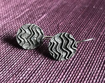 Sterling Silver Round Chevron Earrings
