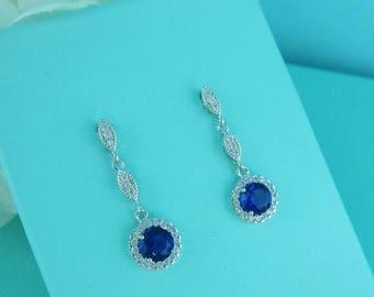 SALE Ends Friday Bridal earrings, blue cubic zirconia earrings, wedding jewelry, bridal jewelry, wedding earrings, bridal earrings, sapphire