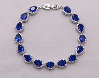 Blue Crystal Bracelet, Bridal Bracelet Sapphire, Blue Sapphire Bracelet, Marley Sapphire Blue Bracelet