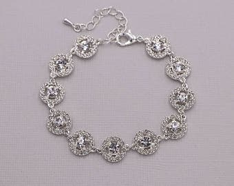 Rhinestone Bridal bracelet, wedding bracelet, rhinestone crystal bracelet, crystal bracelet, bridal jewelry, Carolina Crystal Bracelet