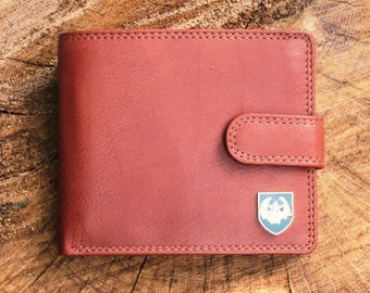 Cameronians Leather Wallet Brown or Black Military Gift ME25