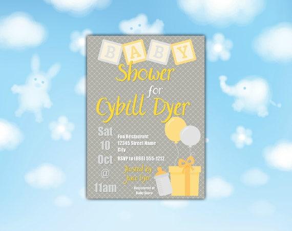 Yellow Baby Blocks Shower Invitation