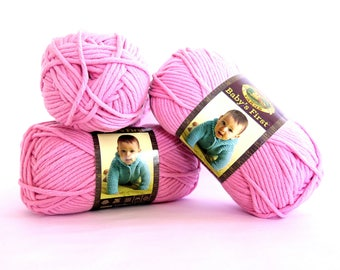 Babys First Pink Fairy Tale Yarn 3 Skeins Lion Brand Craft Supplies