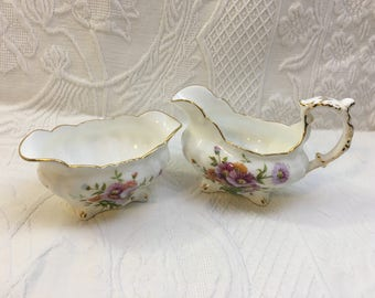 Hammersley Floral Sugar & Creamer Set, Pattern 4148, Gold Trim, Purple and Pink Mums, Scalloped, Embossed,  Mini Sugar, Mini Creamer