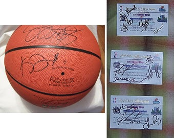 Kevin Garnett signed basketball 1996/1997, w/4 team signed tickets, 1999 NBA game Japan