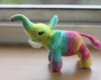 Needle Felted Rainbow Elephant  Hand dyed color One of a kind OOAK
