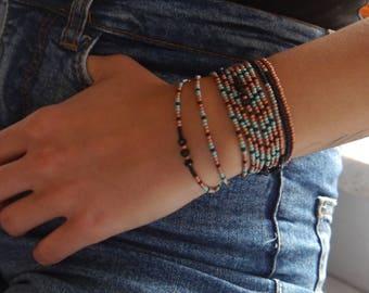 Free Shipping, bead bracelet, fashion wristband, long bracelet, valentine's gift, copper, black, turquoise beads