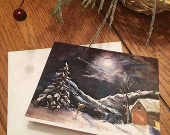 Snowy Night Winter Moon Mountains Old Barn Christmas Blank