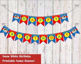 Princess Snow White Birthday Banner