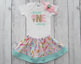 Sweet One First Birthday Outfit in pink, mint and gold - girl birthday outfit, ice cream birthday, headband, sweet one birthday outfit