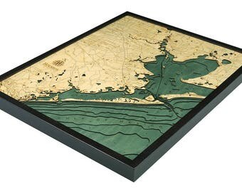 Houston, TX Wood Carved Topographic Depth Map