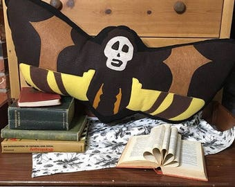 Moth, Death's Head hawkmoth, Scilence of the Lambs inspired Plush, Geeky felt stuffed plush toy pillow