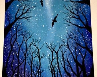 Tree bird painting