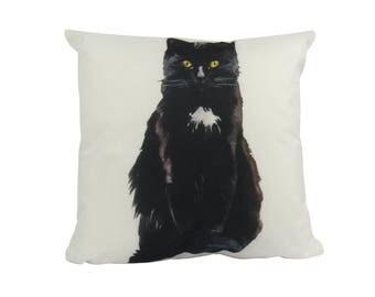 Black Cat on White - Pillow Cover