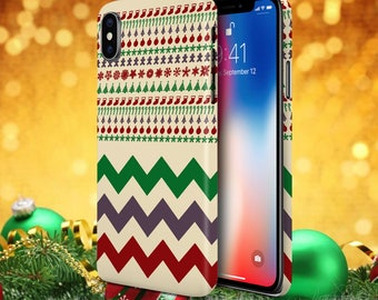 iPhone X Phone Case - Google Pixel 2 Case - Galaxy s8 Phone Case - Festive Christmas Holiday - Stocking Stuffer - Chevron Gift Idea