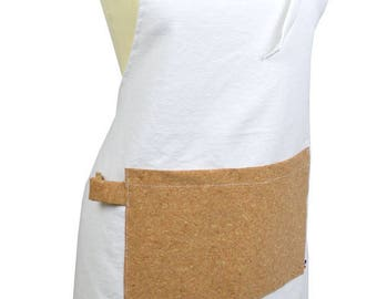 Kitchen apron in white cotton fabric and Cork fabric