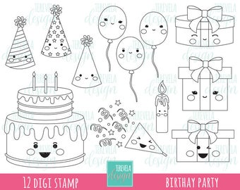 BIRTHAY digital stamp, party digi stamp, commercial use, kawaii digi stamp, birthay cake, Gifts, balloons, coloring page
