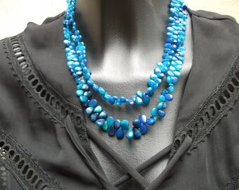 Gorgeous Peacock: AAA blue fire opal necklace.
