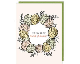 Maid of Honour - Will You Be My Maid of Honor? - Greeting Card