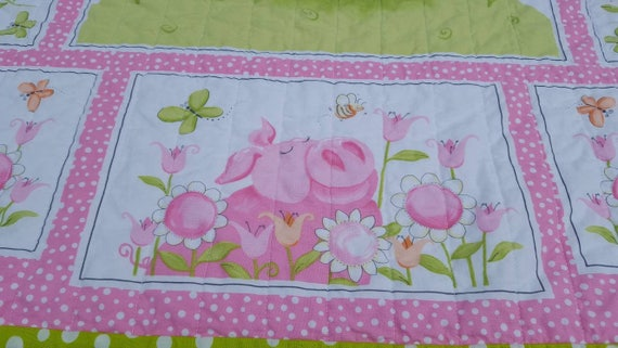 Pink Pig Girl Quilt Pink And Lime Green Baby Quilt Pig