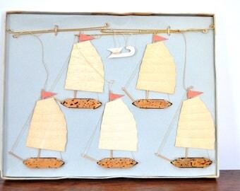 Vintage Ship Mobile, Chinese Junks, Sailing Ships, Nautical Decor