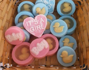 Baby Shower Soap Favors,Customized for your event needs, individually packaged in clear bags with customized labels included in price