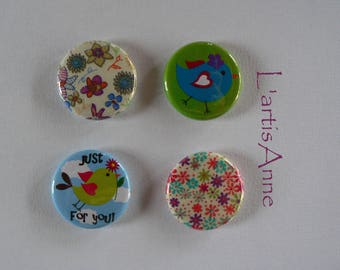 Magnets cheep cheep and Liberty set of 4 bird Badges or magnets.