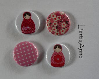 Set of 4 Mini Magnets, magnets or Pinback button, Russian Matryoshka doll.