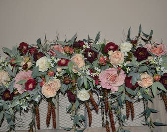 Wedding Arch, Wedding Archway Swag, Wedding Ceremony Swag, Wedding Arch flowers, DahliaRose Arch,Peony Arch, Mantle Swag