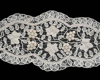 Vintage Beige Romanian Lace Oval Doily