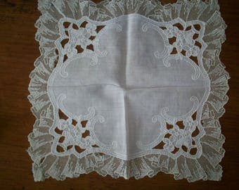 Antique white lace hankies lovely work