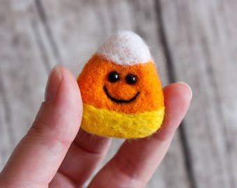 Candy corn brooch Halloween jewelry Hand Felted Brooch Cady corn pin Unique gift Autumn gift