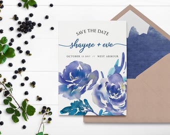 Watercolor Save the Date - Blue Watercolor Print - Watercolour Save the Date - Blue Roses - Save the Date Cards - Watercolor Flowers