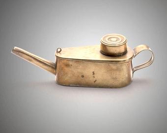 brass finger handled oil lamp circa 1840