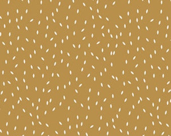 "1/2"" Double Fold Bias Tape: Scatter in Wood, Mustard"