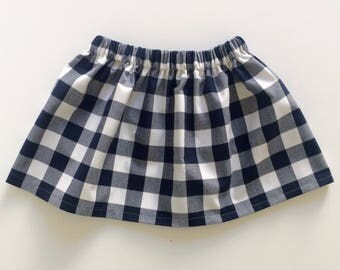 NAVY GINGHAM // toddler and baby skirt