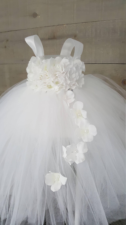 White Flower Girl Tutu Dress White Hydrangea Tutu Dress Toddler