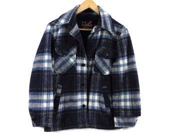 VTG 70s Plaid Sears Winter Jacket - XS Mens - Small Womens - Blue - Fleece Lined - Vintage Clothing - Fall Fashion - Grunge -