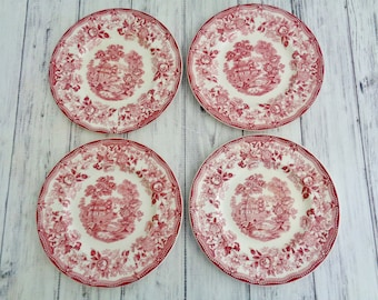 "Royal Staffordshire Clarice Cliff Staffordshire Rec Tonquin 1940s Transferware 6.5"" Bread and Butter Plates Set of Four, Red Rose Pink"