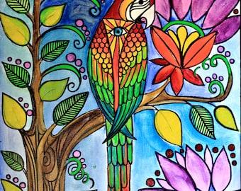 Birdy Print - Tropical Bird Print; Brightly Colored Print; Decor;