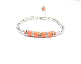 Sterling silver bead bracelet, bead bracelet, silver bracelet, Sterling silver bracelet, coral bracelet, coral beaded bracelet
