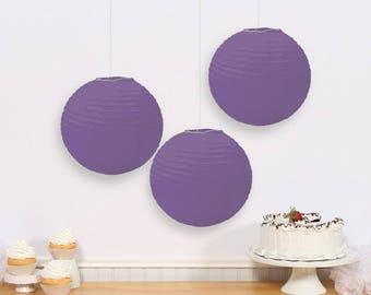 Set Of Three 9 1/2 Inch Purple Paper Lanterns - Wedding - Anniverary - Birthday - All Occasion Party Decor