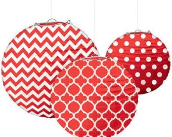 Set Of Three Red & White Beautifully Patterned Paper Lanterns In 3 Sizes - Wedding - Anniverary - Birthday - All Occasion Party Decor