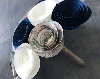 Paper Flower Bouquet - Wedding Bouquet Alternative - Paper Bridal Bouquet - Paper Flowers - Nautical Bouquet - Destination Wedding - Map