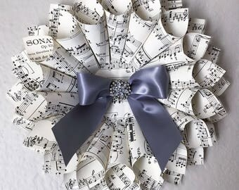Bow Wreath - Holiday Wreath - Gift Under 25 - Vintage Holiday Decor - Music Sheet Wreath - Music Teacher Gift - Christmas Gift - Choir