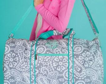 Parker Paisley Monogrammed Girls Duffel Bag, Girls Weekender Bag, Overnight Bag, Travel Bag, Kids Duffel Bag, Camp Bag, Valentines Gift