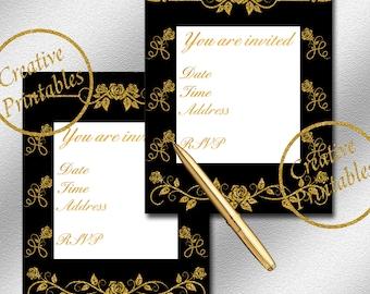 Black & Gold Invitations - Instant Download - Printable Invitation - Elegant Invitation