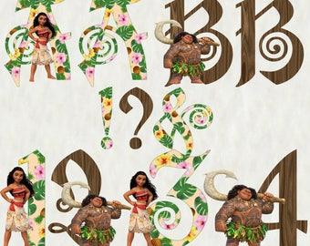 Moana Alphabet Clipart, Moana Letters, Moana Numbers, Moana and Maui font clipart, download