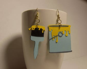 Paint Brush and Can Earrings