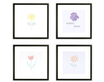 Botanical Art Print Collection with Quotes